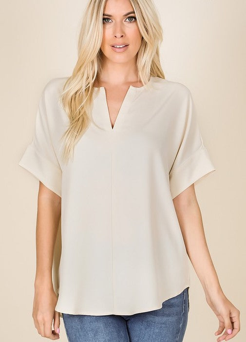 Woven Split Neck Top Taupe