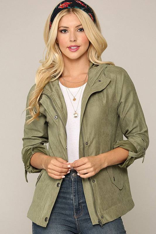 Suede Jacket with Snap Buttons Green