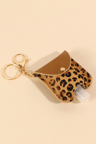 Animal Print Hand Sanitizer Key Chain Brown