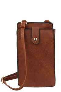 Faux Leather Crossbody Phone Purse Brown