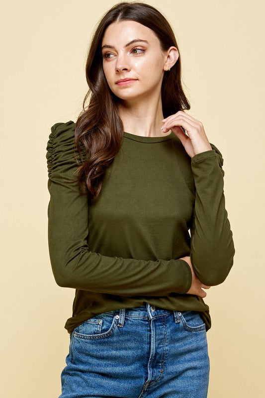 Puff Long Sleeve Top Army Green