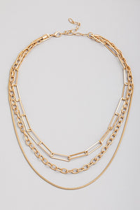 Triple Multi Chain Necklace Gold