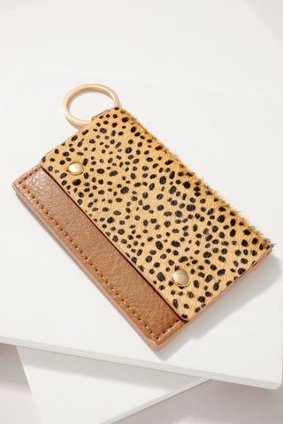 Animal Print Leather Wallet Cheetah Brown