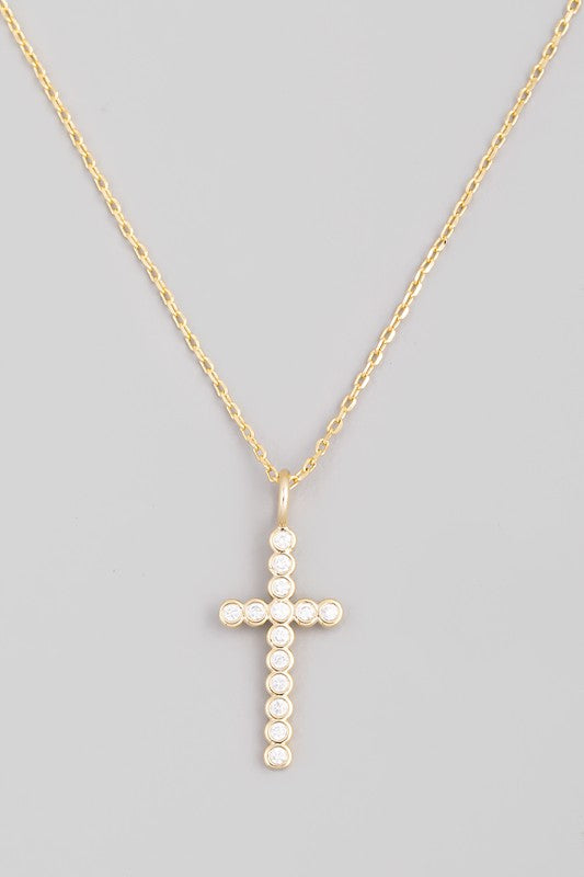Beaded Cross Necklace Gold