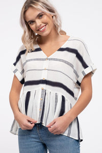 Striped Button Down Top Navy