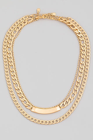 Bar Detail Chain Necklace White Gold