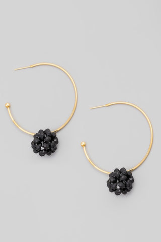 Beaded Cluster Detailed Hoop Black