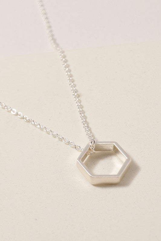 Short Hexagon Charm Necklace Silver