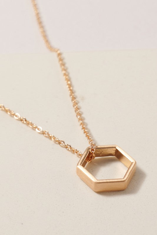 Short Hexagon Charm Necklace Gold