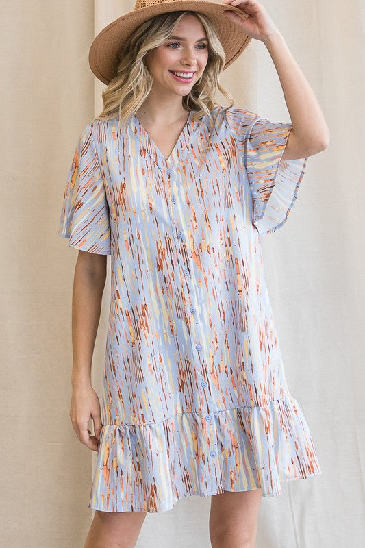 V-Neck Button Down Short Sleeve Dress Blue