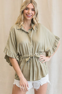 Solid Drawstring Waist Ruffle Sleeve Top Sage