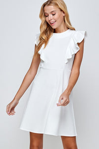 Solid Knit Ruffled Sleeve Dress Ivory