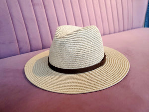 Straw Panama Hat with Leather Strap Natural
