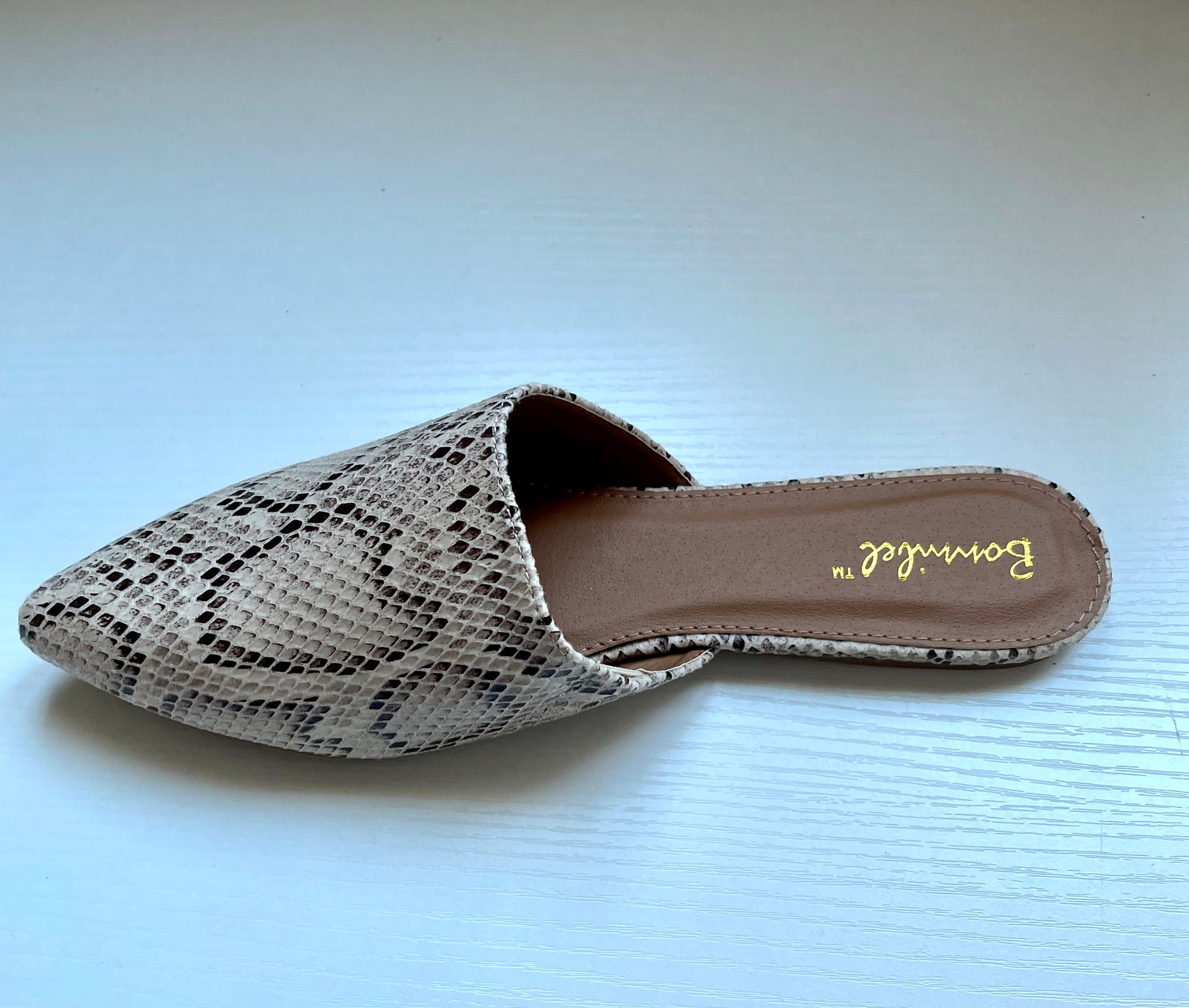 Beige Snake Mule Shoes