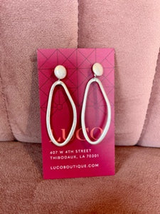 Long Oval with Stud Earring Silver