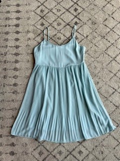 Strappy Pleated Mini Dress Blue Cool
