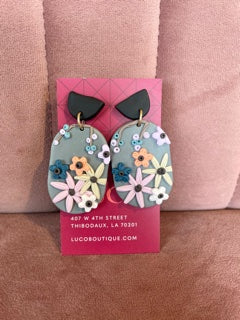 Clay Floral Earrings Grey/Multicolor