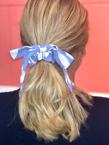Hair Scarf Scrunchie Blue Swirl