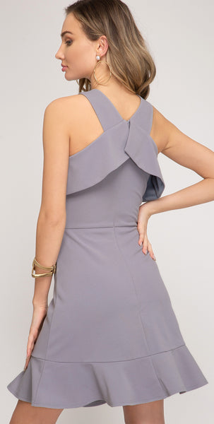 Cross Strap Dress Lilac Blue