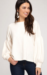 Long Balloon Sleeve Sweater Cream