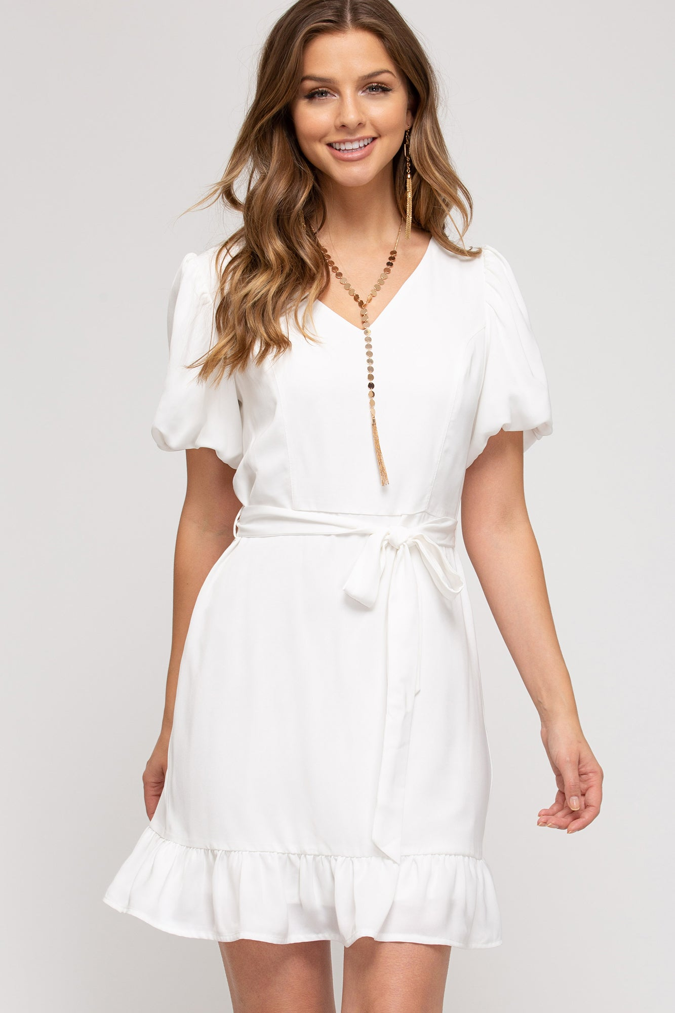 Short Bubble Sleeve V-Neck Dress Off White