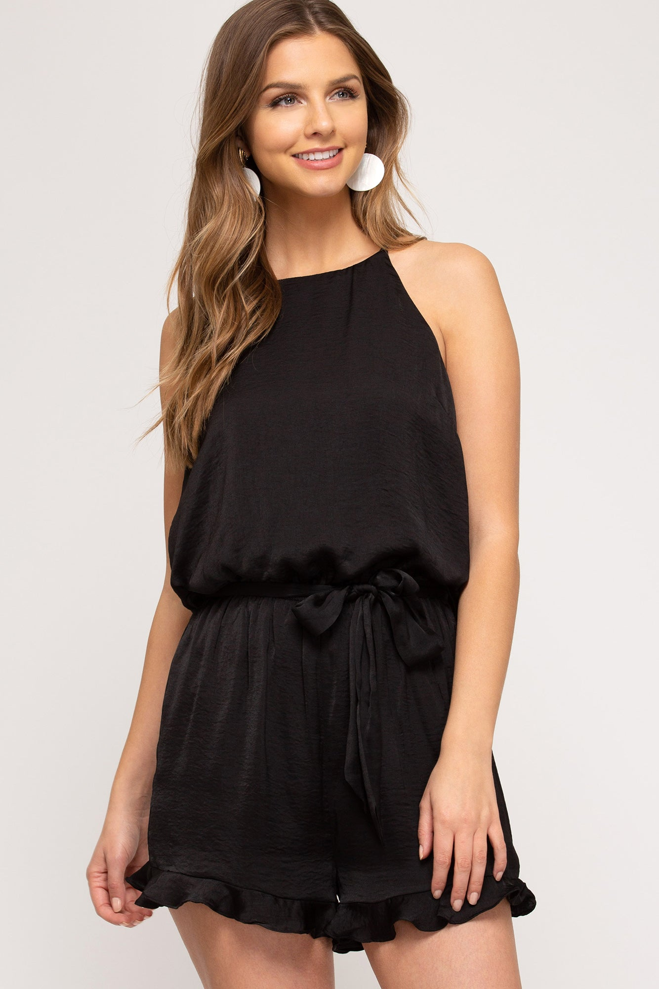 Sleeveless Woven Satin Romper Black