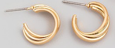 Small Double Hoop Earrings Gold