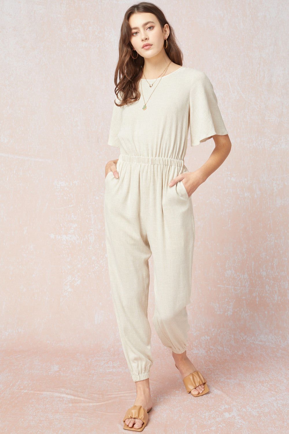 Woven Tie Back Jumpsuit Natural