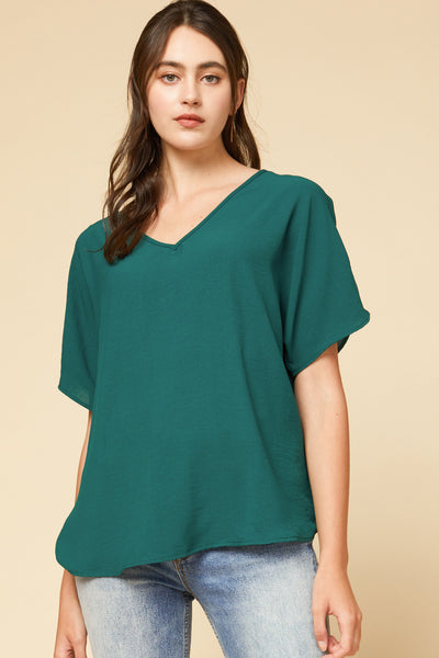 Solid V-Neck Top Green