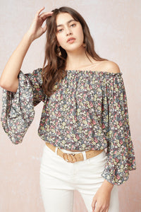 Off the Shoulder Long Sleeve Flower Top Black