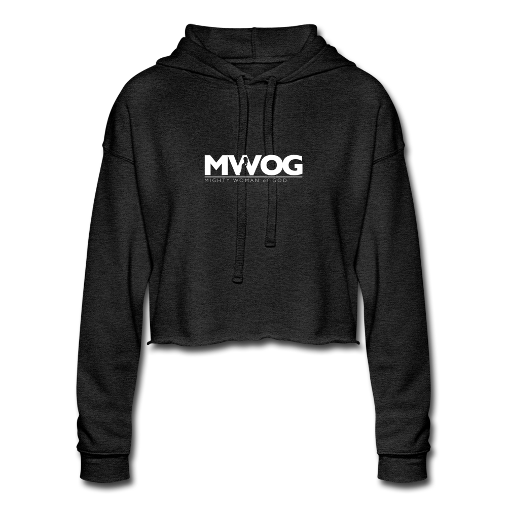MWOG Cropped Hoodie (White Logo) - deep heather