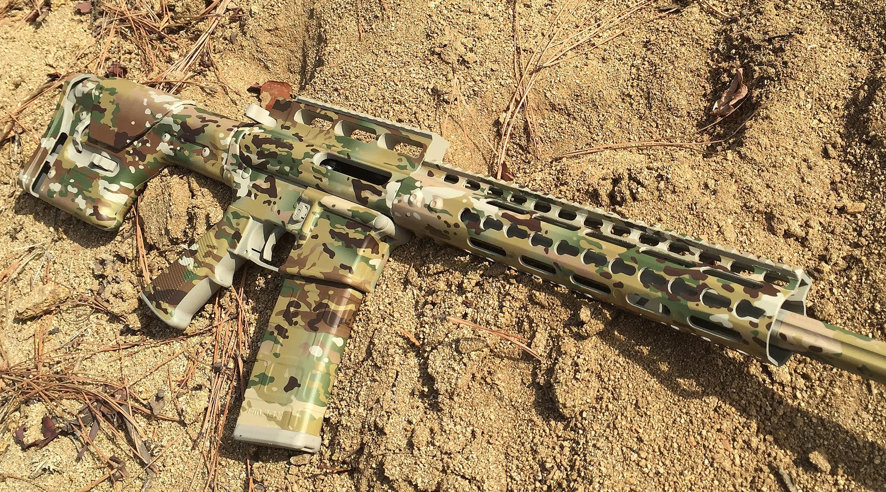 complete camo job for your rifle with diy spray paint and gunskins. Black Bedroom Furniture Sets. Home Design Ideas