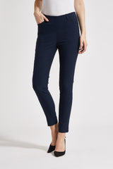 Grace Slim Cropped - Navy Check