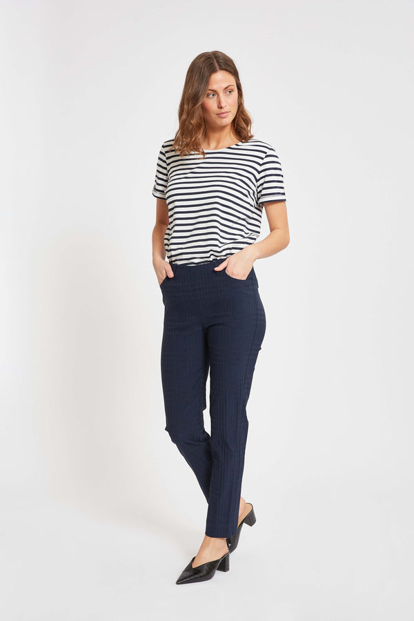Kelly Regular Cropped - Navy Check