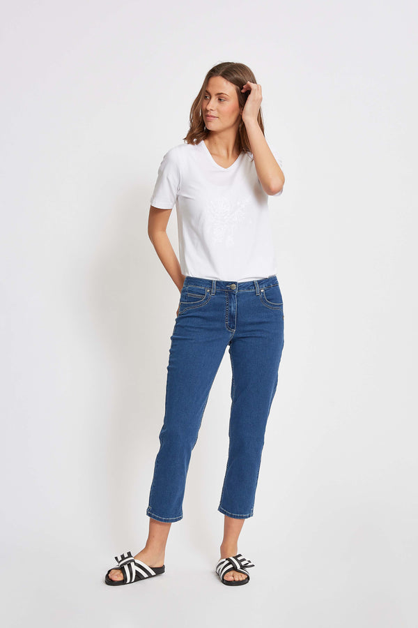 Mia Regular Cropped Jeans - Medium Blue Denim
