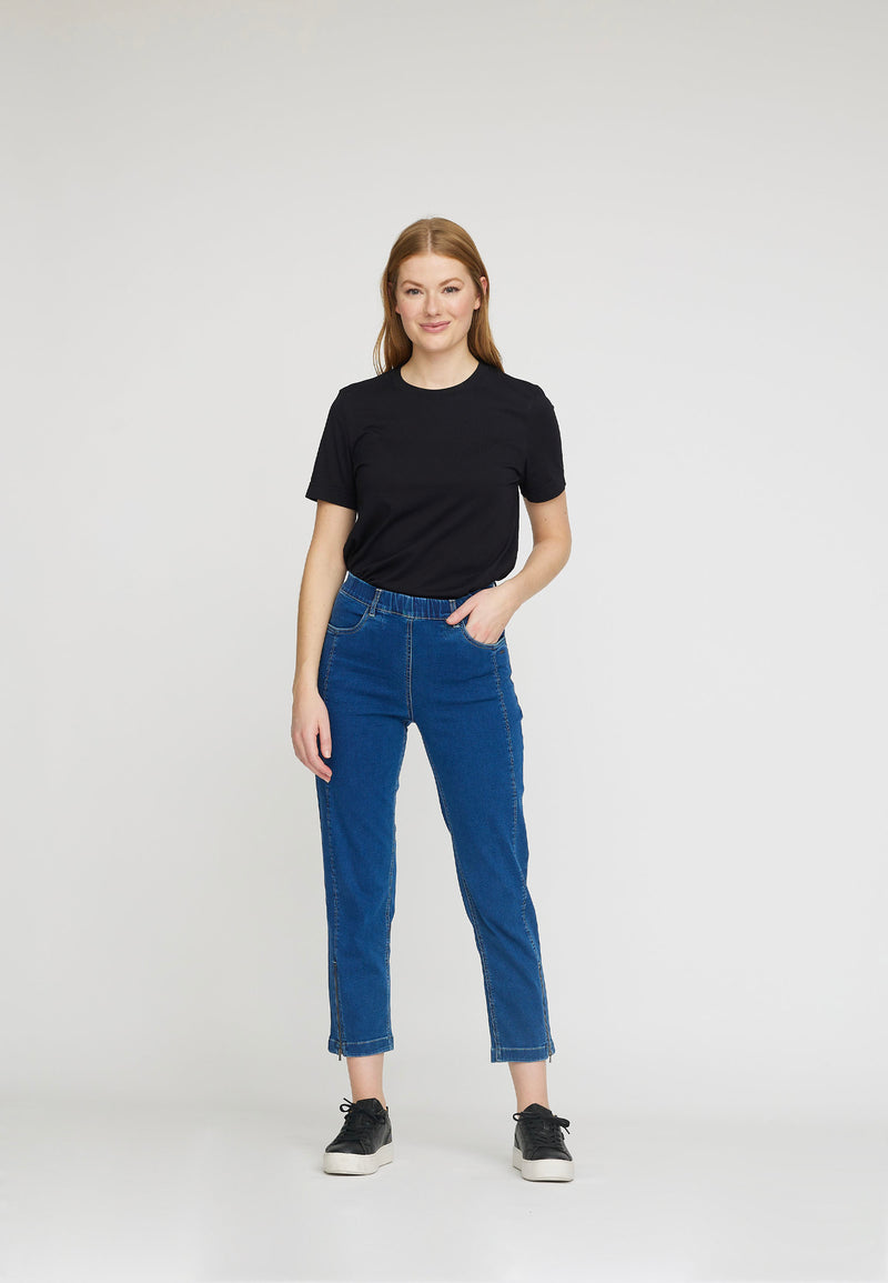 Piper Regular Cropped Jeans - Medium Blue Denim