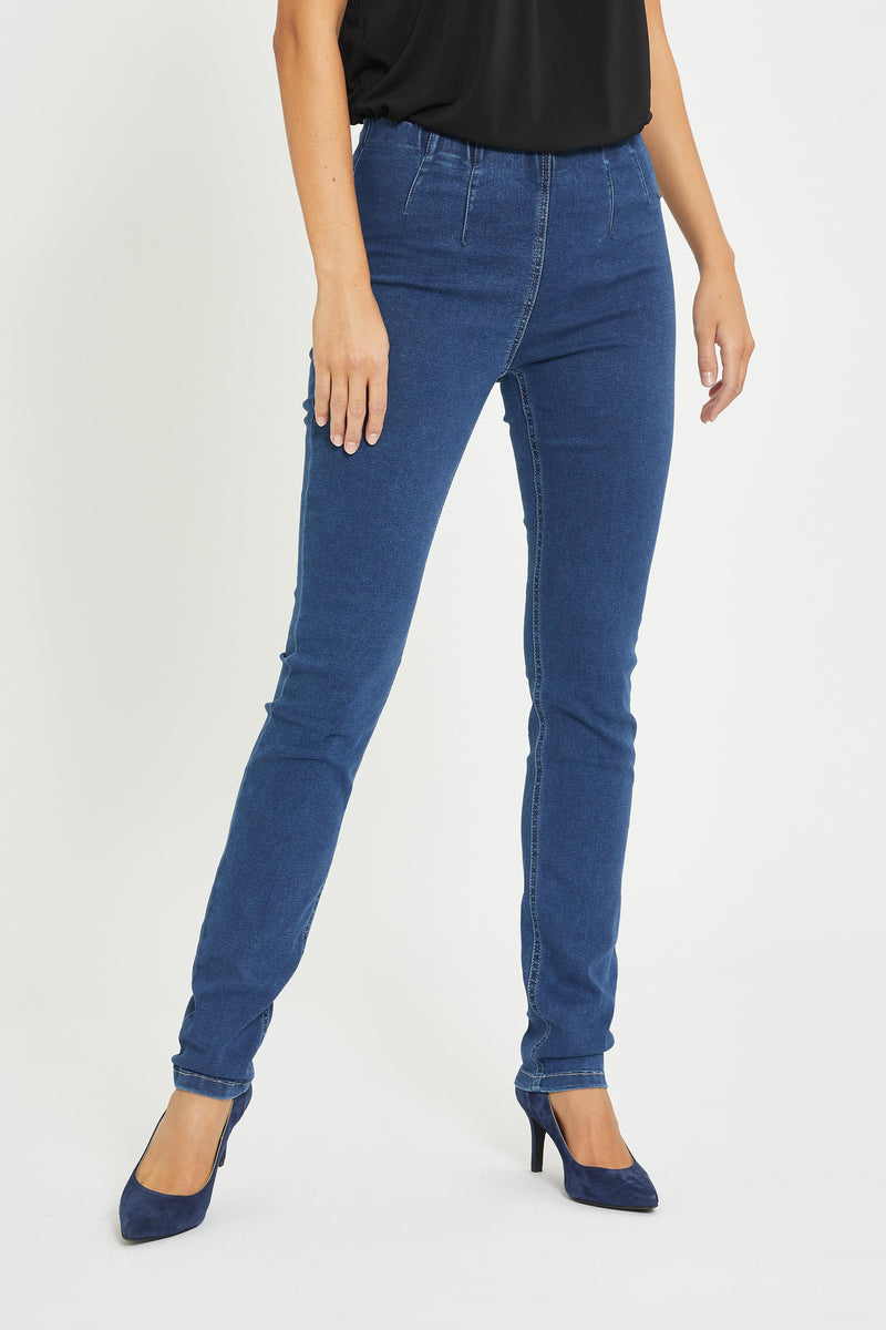 Vicky Slim Bukser - Medium Blue Denim