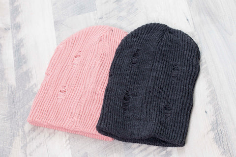 pink and charcoal beanie