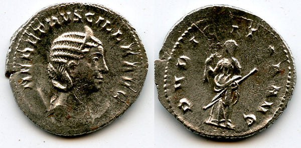 Silver antoninianus of Herennia Etruscilla, wife of Trajan Decius (249-251), Rome mint, Roman Empire