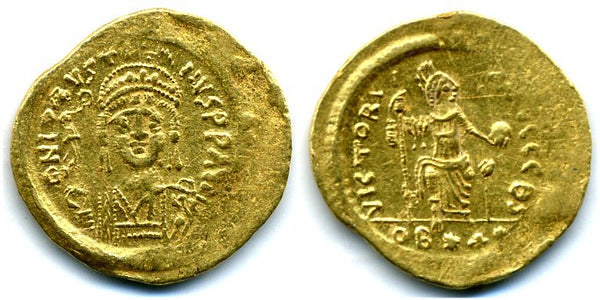 Rare lightweight gold solidus of 22 Siliquae, Justin II (565-578 AD), Antioch mint (?), Byzantine Empire