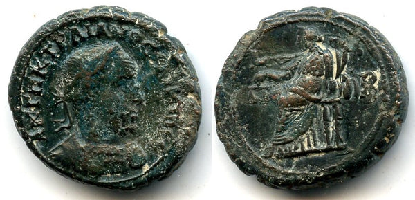 Rare potin tetradrachm with seated Dikaiosyne, Trajan Decius (249-251 AD), Alexandria mint, Roman Empire (Milne 3819)
