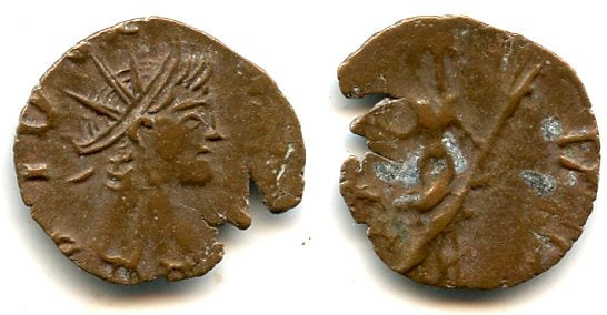 Ancient barbarous antoninianus with DIVO on obverse, Tetricus II (minted ca.270-280 AD), PAX type, Ancient Gaul