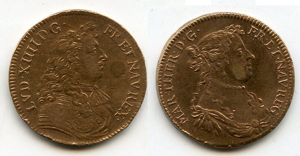 Nice copper token (AE27) of Louis XIV (1643-1715) and his wife Maria Theresa, France