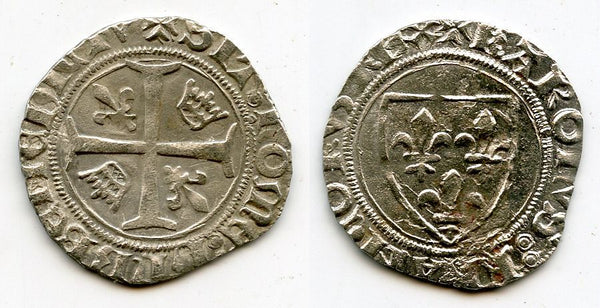 Excellent silver blanc guenar of Charles VI le Bien-Aimé/le Fol (the Well-Beloved/the Mad) (1380-1422), Montpellier mint, France - 4th emission, minted 1411-1417