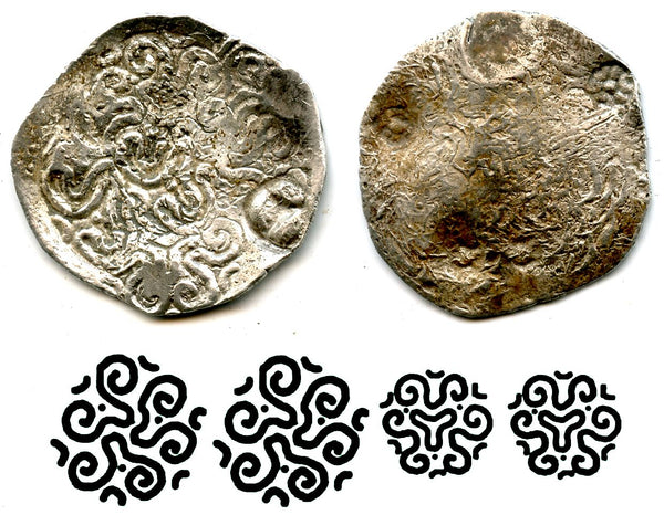 Exceedingly rare and only recently identified! HUGE early silver vishmatika, Matsya Janapada (600-500 BC), Ancient India