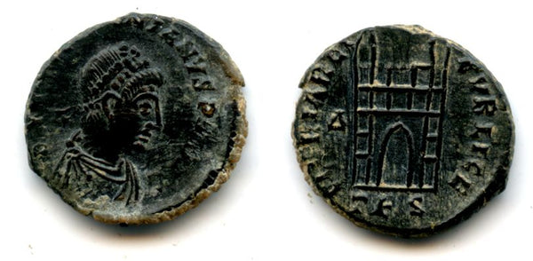 Scarcer camp-gate AE4 of Valentinian II (375-392), Thessalonica mint, Roman Empire