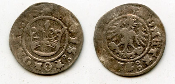 "Very nice quality silver 1/2 grosso of Sigismund ""the Old"" (1506-1548), Poland"