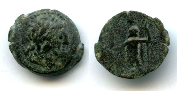 Rare high quality AE17 (tetrachalkon or eighth unit) of the famous Cleopatra (51-30 BC), mint of Neopaphos, Cyprus, Ptolemaic Kingdom of Egypt