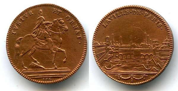 "Rare copper token (AE24) of Louis XIV (1643-1715), France - ""view of Paris"" type"