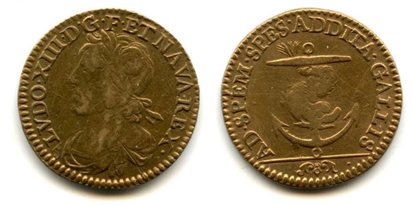 "Nice brass token (AE21) of Louis XIII (1610-1643), undated type, France - ""dolphin and anchor"" type"